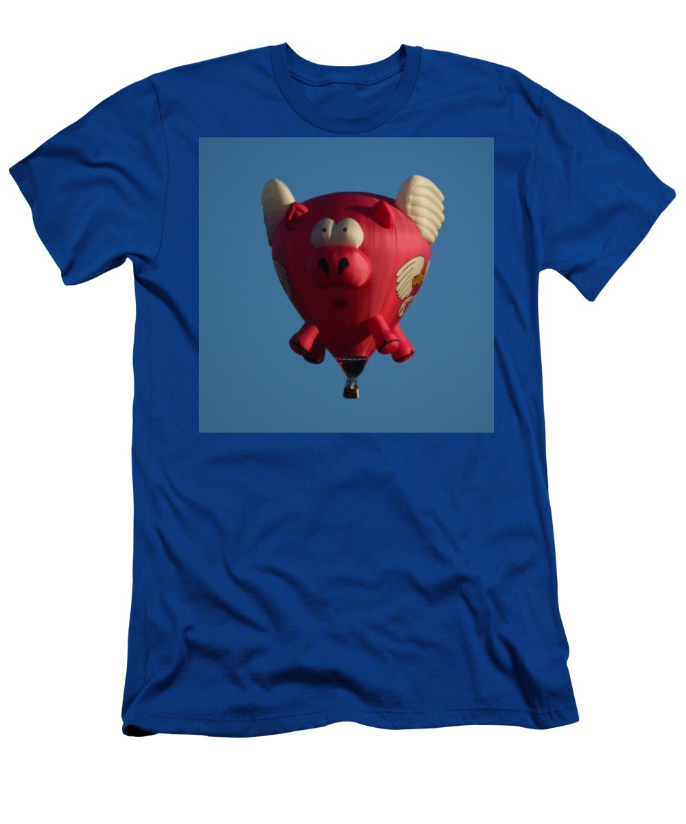Balloons Men's T-Shirt (Athletic Fit) featuring the photograph Pigs Do Fly by Ernie Echols