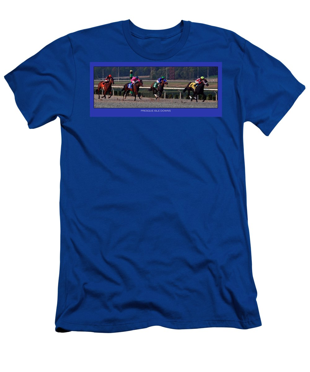 Horses Men's T-Shirt (Athletic Fit) featuring the photograph Presque Isle Downs by Rebecca Samler