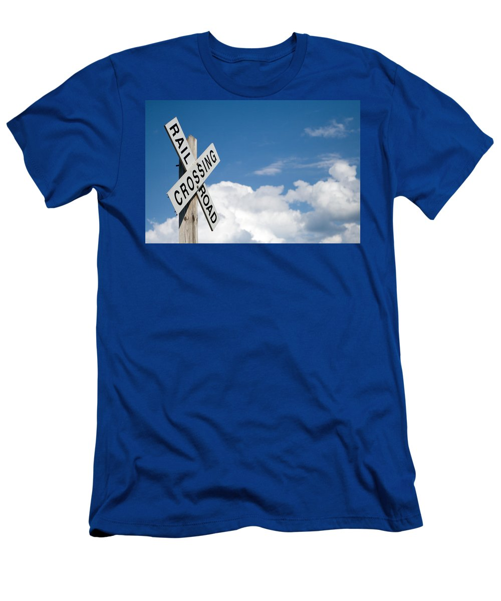 Railroad Men's T-Shirt (Athletic Fit) featuring the photograph Railroad Crossing Sign by Stephanie McDowell