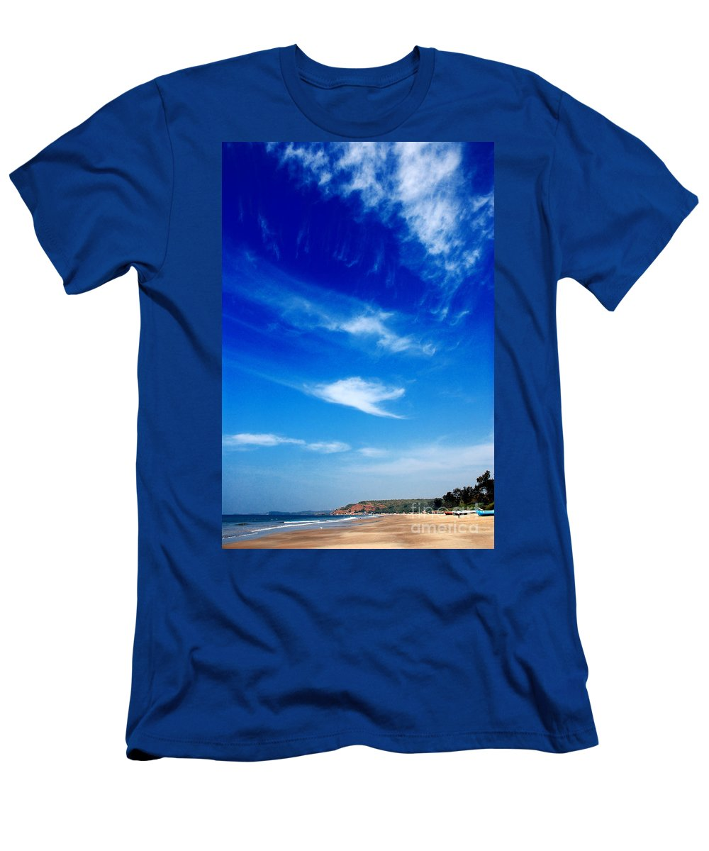 Arambol Beach Men's T-Shirt (Athletic Fit) featuring the photograph Sand And Sky by Dattaram Gawade