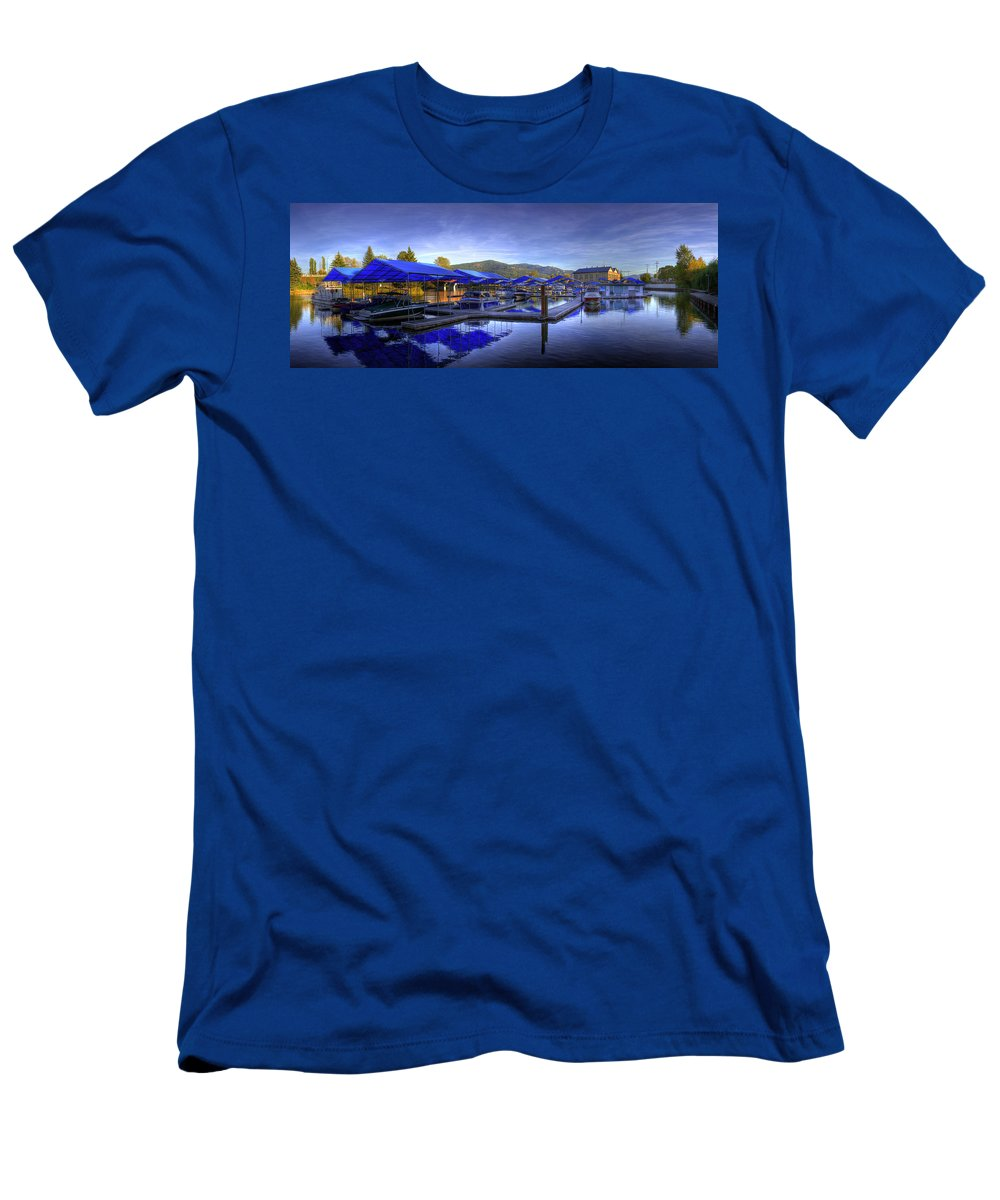Landscape Men's T-Shirt (Athletic Fit) featuring the photograph Sandpoint Marina And Power House 2 by Lee Santa