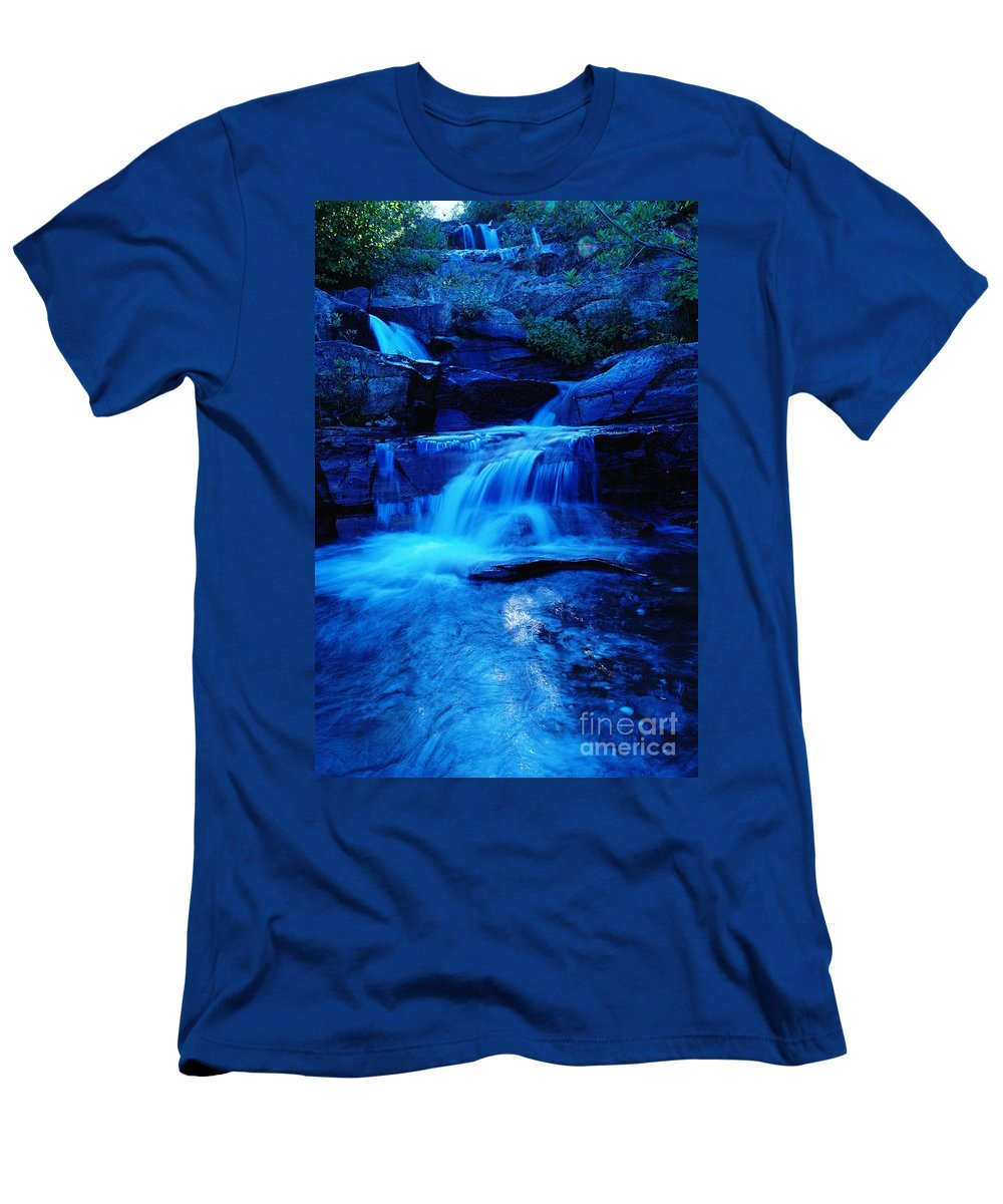 Waterfalls Men's T-Shirt (Athletic Fit) featuring the photograph Small Waterfall Going Into Spirit Lake by Jeff Swan