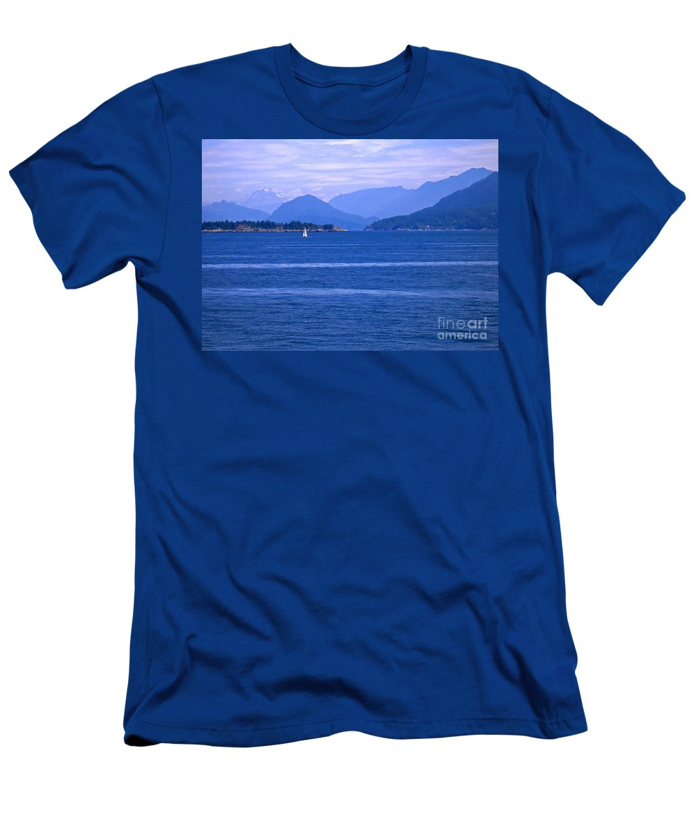 Sailboat Men's T-Shirt (Athletic Fit) featuring the photograph Solitary Sailing by Ann Horn