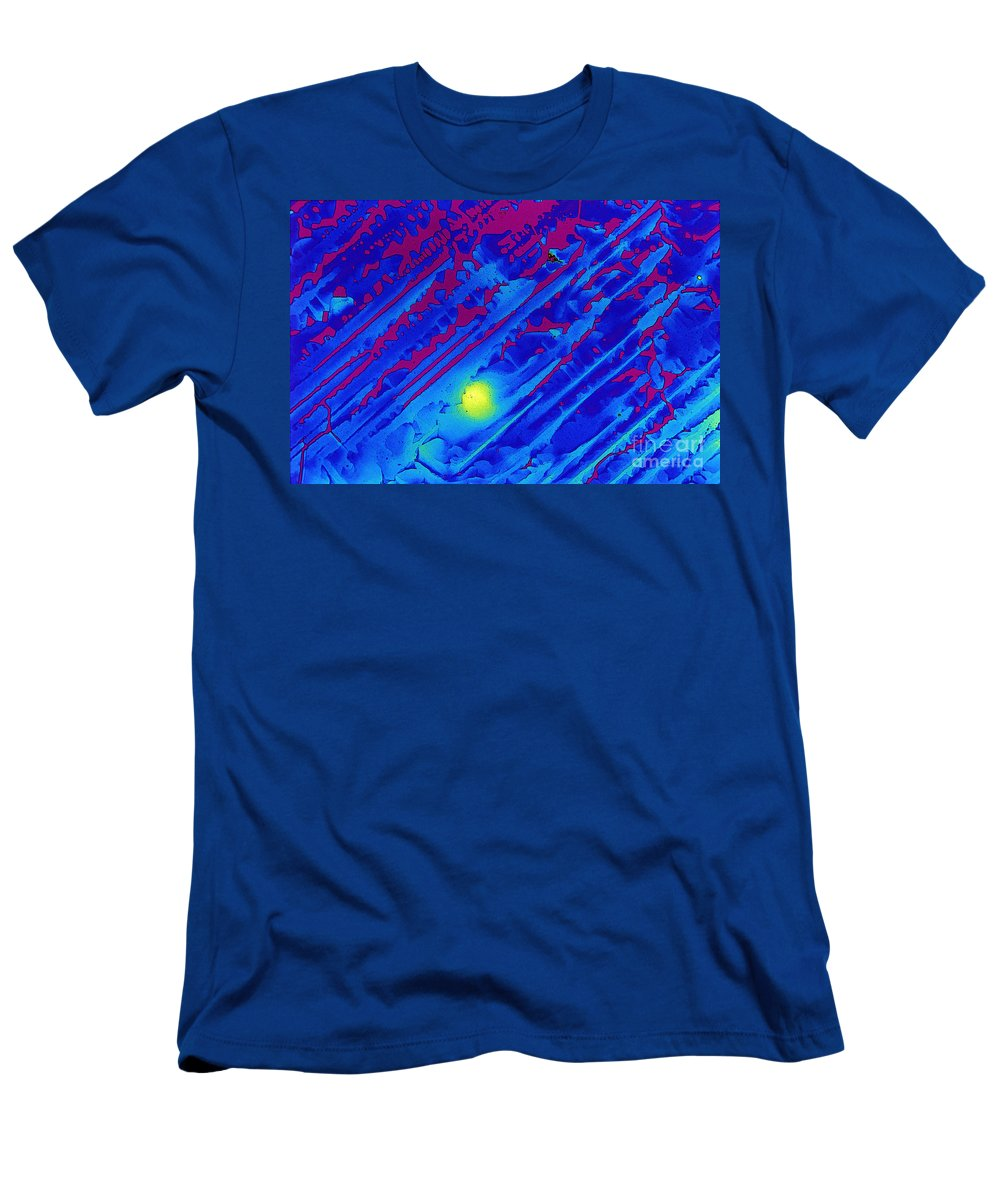 Polarized Light Micrograph Men's T-Shirt (Athletic Fit) featuring the photograph Spectinomycin by Michael W. Davidson