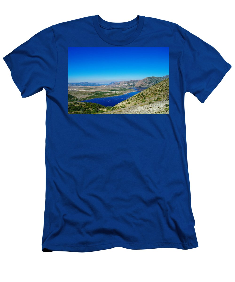 Lake Men's T-Shirt (Athletic Fit) featuring the photograph Spirit Lake From Windy Point by Jeff Swan