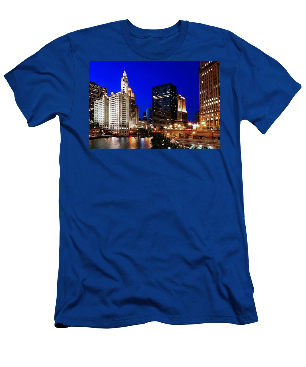 Chicago Men's T-Shirt (Athletic Fit) featuring the photograph The Chicago River by Rick Berk