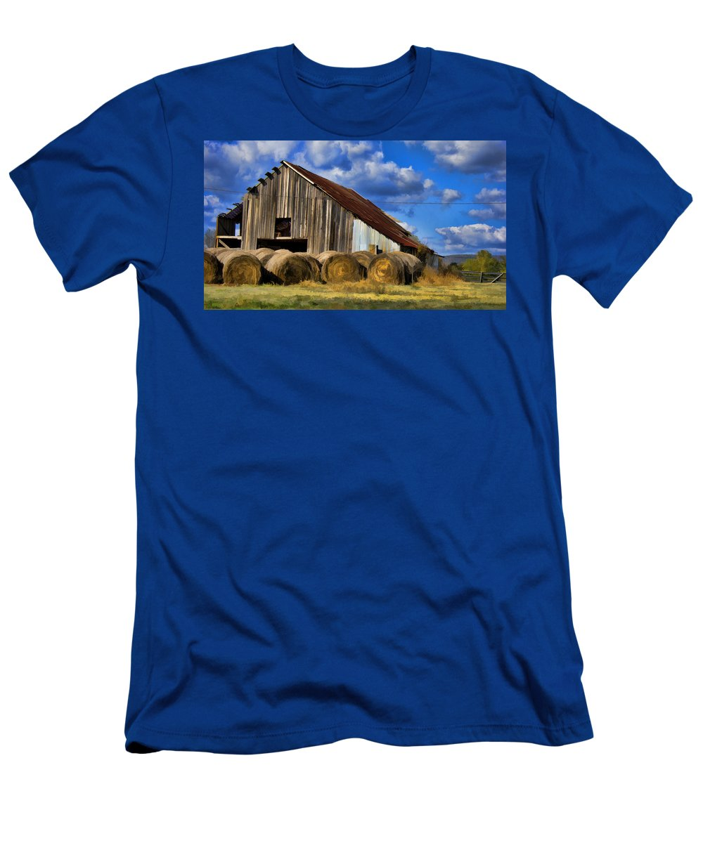 Hay Men's T-Shirt (Athletic Fit) featuring the photograph The Old Roadside Barn by Douglas Barnard