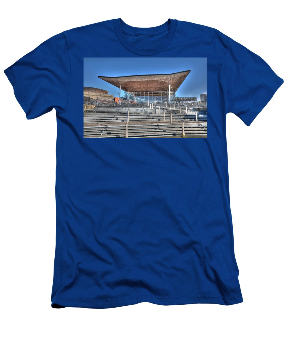 The Welsh Assembly Building Men's T-Shirt (Athletic Fit) featuring the photograph The Welsh Assembly Building by Steve Purnell