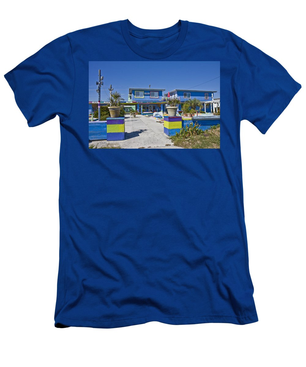 Topsail Men's T-Shirt (Athletic Fit) featuring the photograph Topsail Island Patio Playground by Betsy Knapp
