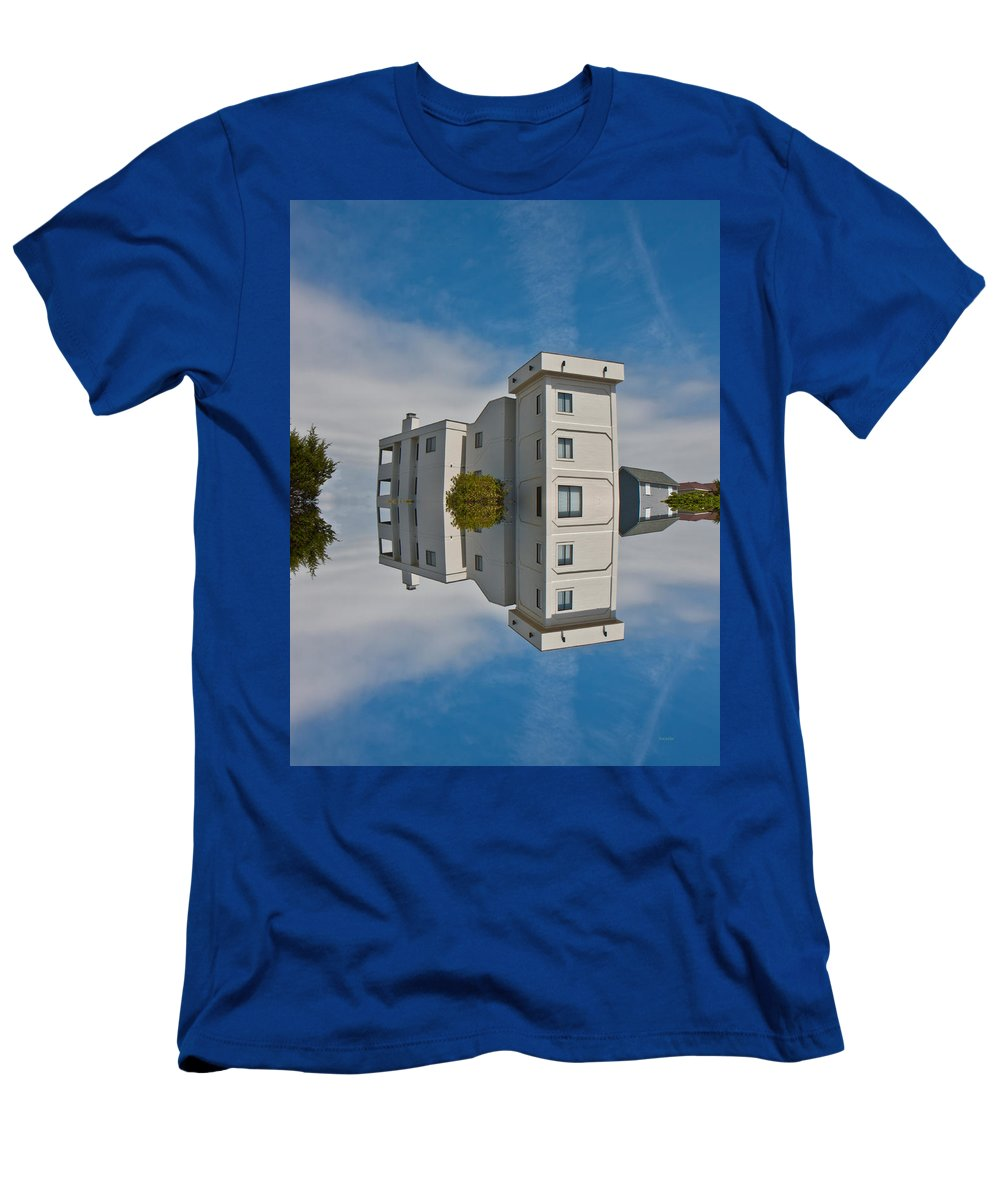 Topsail Men's T-Shirt (Athletic Fit) featuring the digital art Topsail Island Tower Reflection by Betsy Knapp