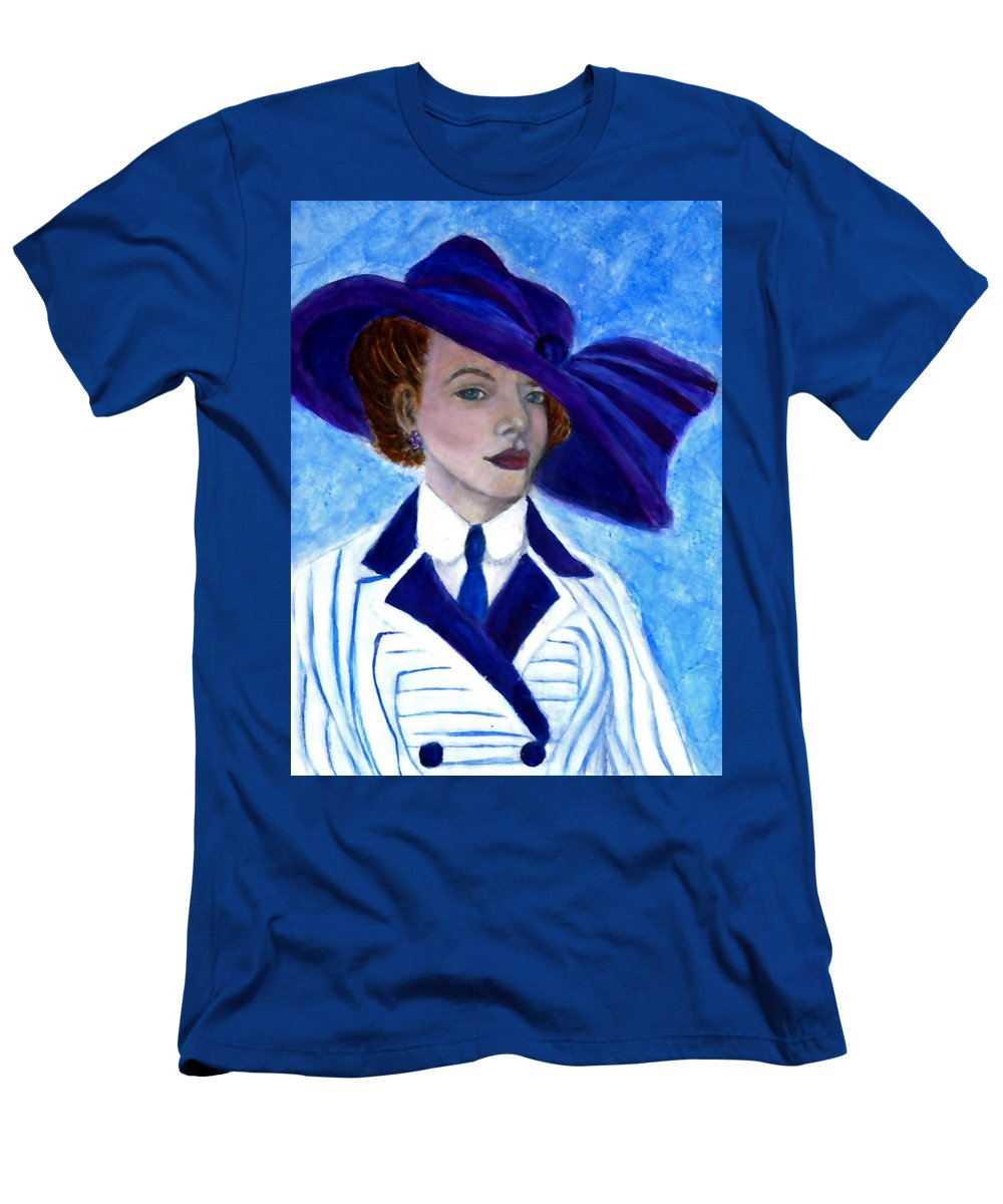 Lady In Hat Men's T-Shirt (Athletic Fit) featuring the painting Victoria by The Art With A Heart By Charlotte Phillips