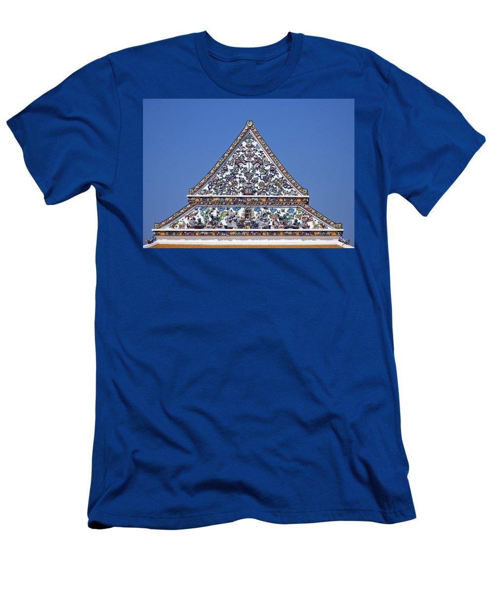Bangkok Men's T-Shirt (Athletic Fit) featuring the photograph Wat Ratcha Orasaram Ubosot Gable Dthb427 by Gerry Gantt