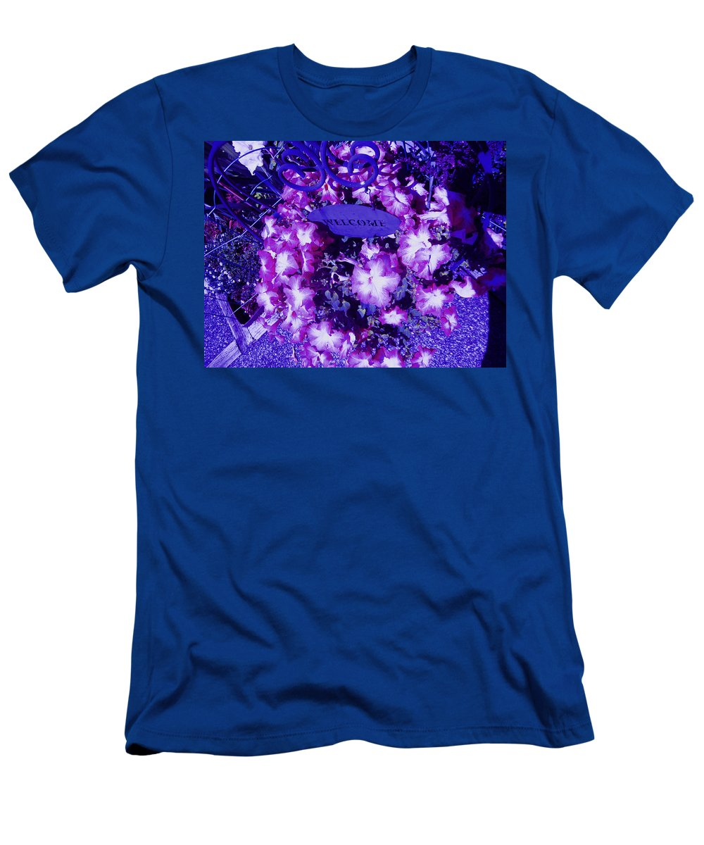 Flowers In Purple Men's T-Shirt (Athletic Fit) featuring the photograph Welcome Flowers In Purple by Kym Backland