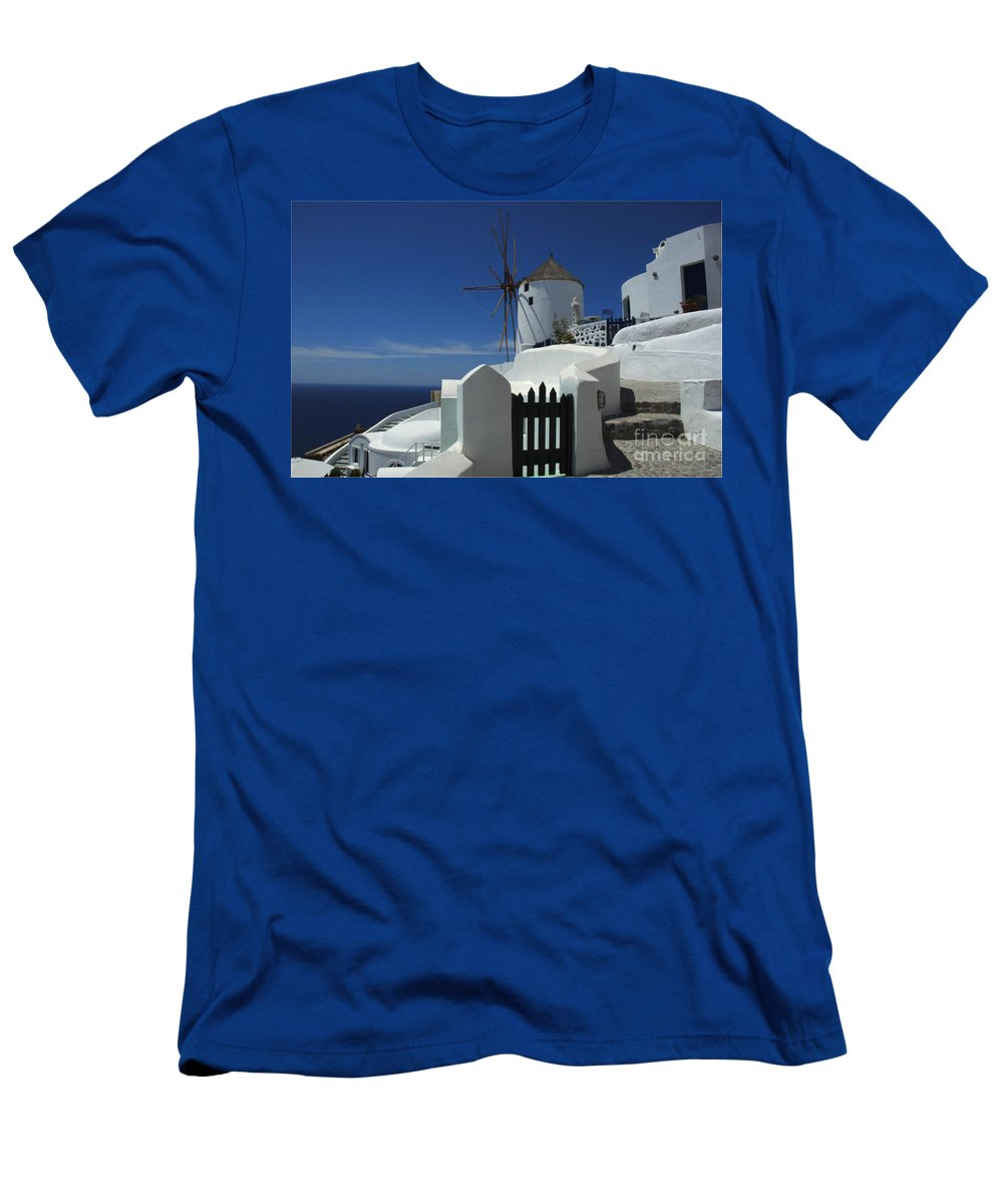 Greece Men's T-Shirt (Athletic Fit) featuring the photograph Windmill Greek Islands by Bob Christopher