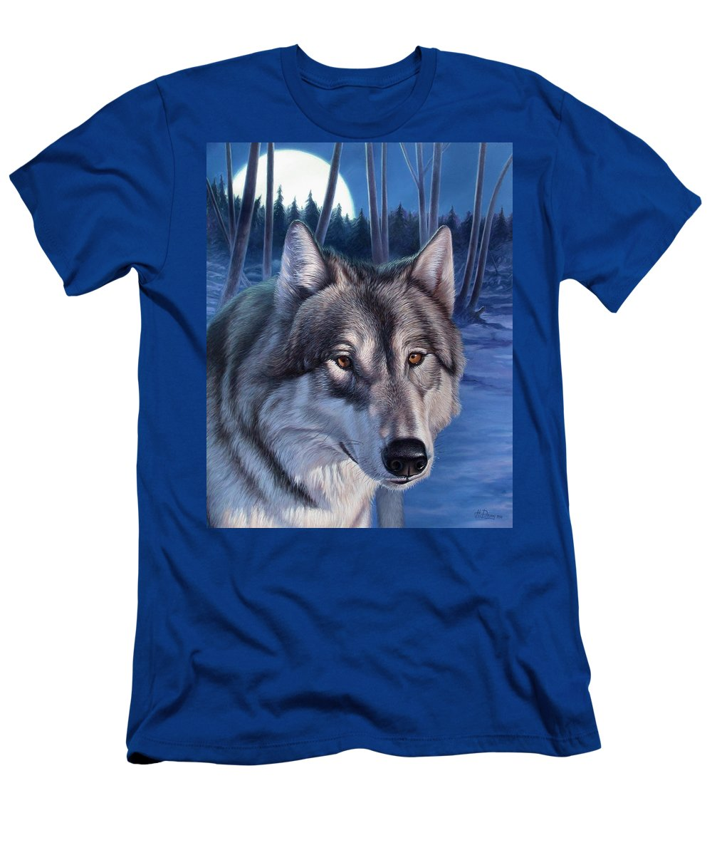 Wolf Men's T-Shirt (Athletic Fit) featuring the painting Wolf In Moonlight by Hans Droog