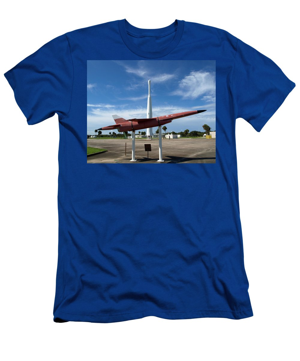 Thor; Able; Thor-able; Missle; U.s.; Airforce; Air Force; Air; Force; Cape; Canaveral; Nasa; Rocket; Men's T-Shirt (Athletic Fit) featuring the photograph Air Force Museum At Cape Canaveral by Allan Hughes
