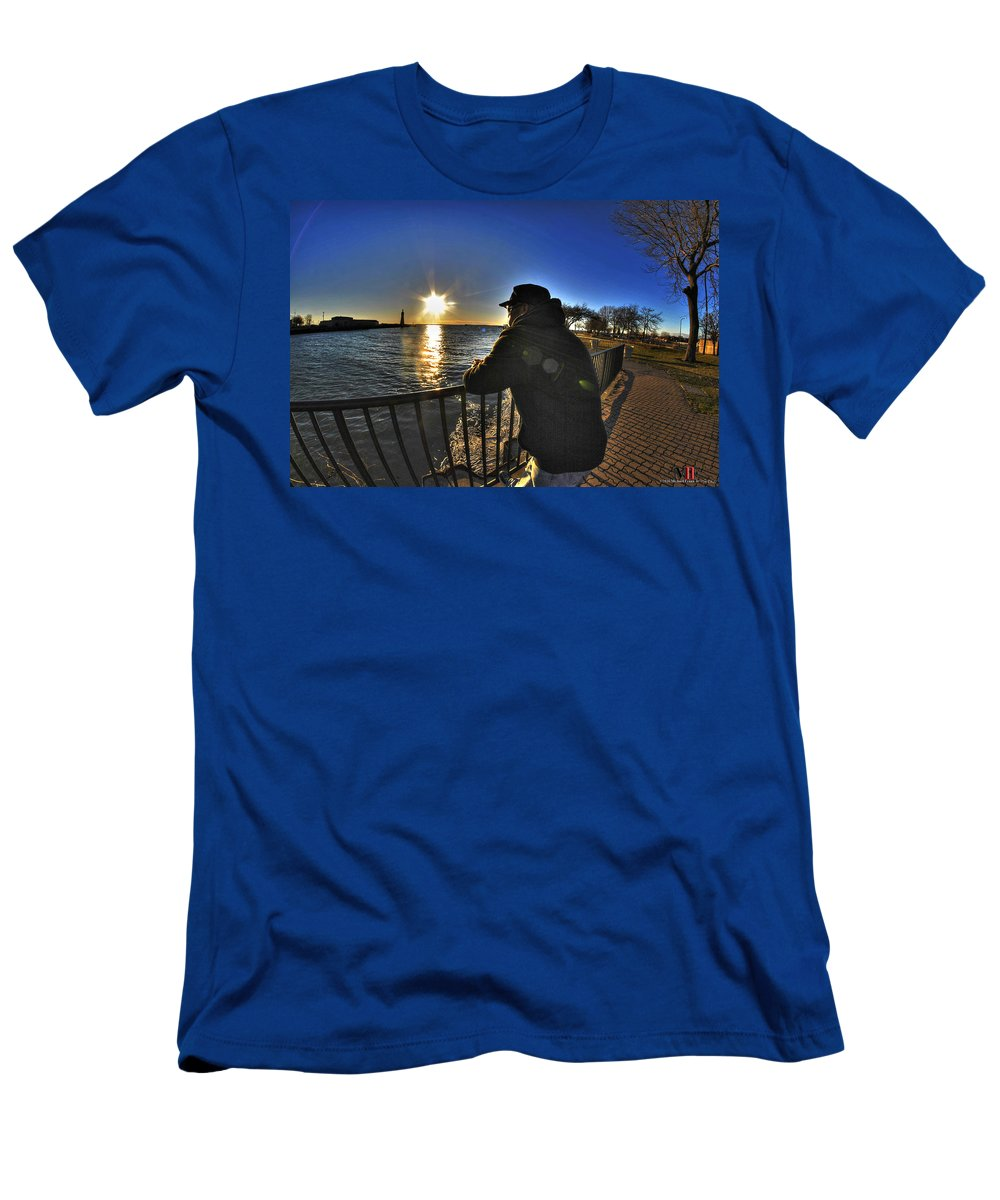 Buffalo Men's T-Shirt (Athletic Fit) featuring the photograph 03 Me Sunset 16mar16 by Michael Frank Jr