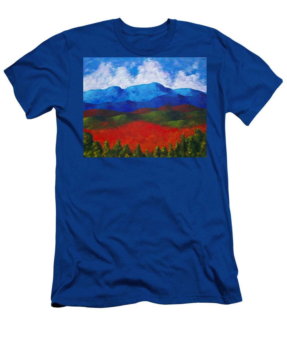 Art & Collectibles Painting Acrylic White Blue Green Red Pink Yellow Orange Art Adirondack Mountains Upstate New York State Park Ny Landscape Colorful Bright Sky Nature Art Autumn Fall Wilderness Men's T-Shirt (Athletic Fit) featuring the painting A View Of The Blue Mountains Of The Adirondacks by Mike Kraus
