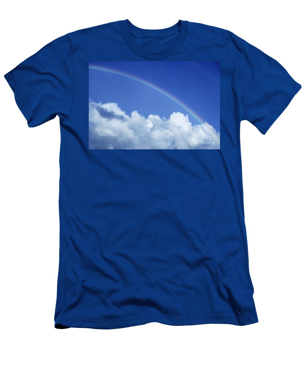 Above Men's T-Shirt (Athletic Fit) featuring the photograph Arching Rainbow by Carl Shaneff - Printscapes
