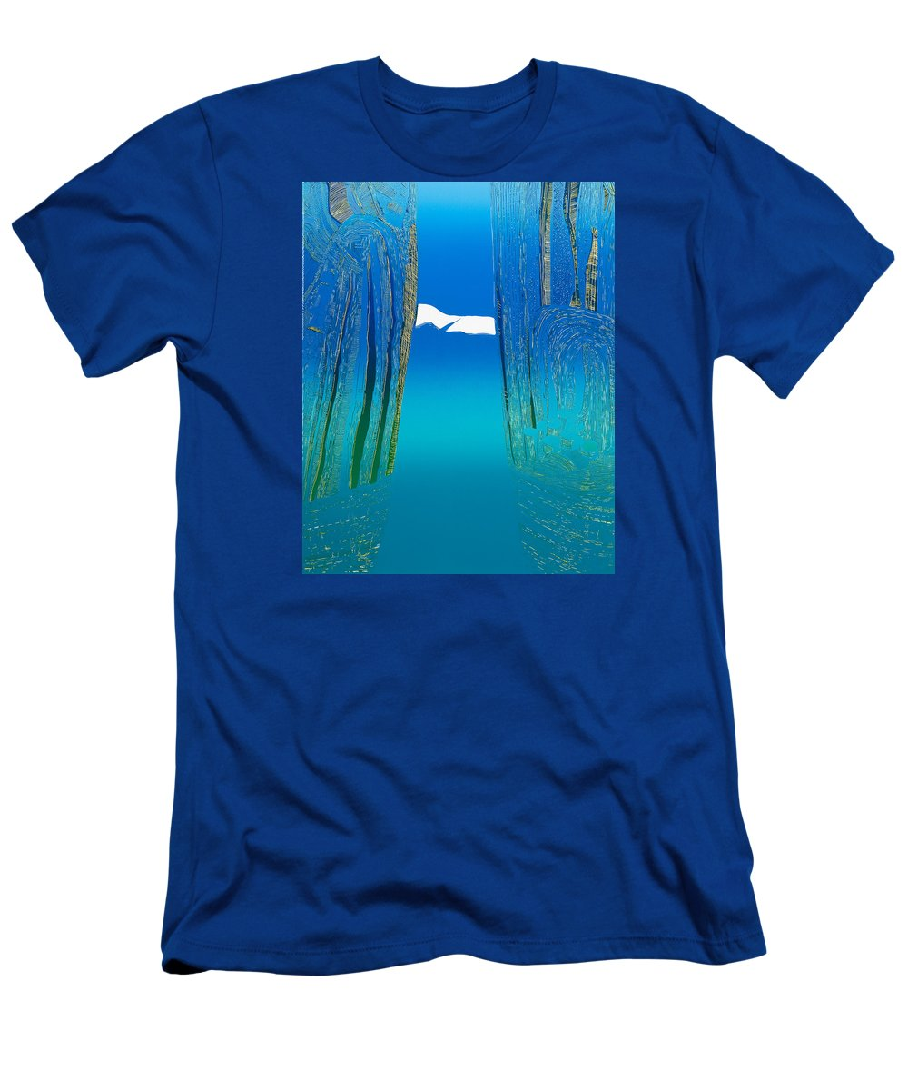 Landscape Men's T-Shirt (Athletic Fit) featuring the mixed media Between Two Mountains. by Jarle Rosseland
