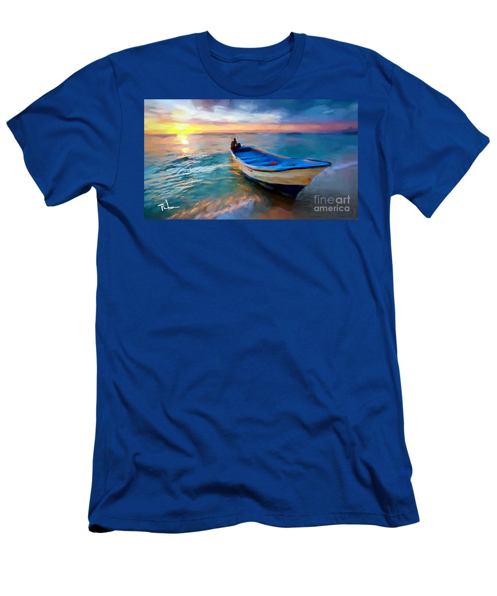 Men's T-Shirt (Athletic Fit) featuring the digital art Boat On Beach by Tom Sachse