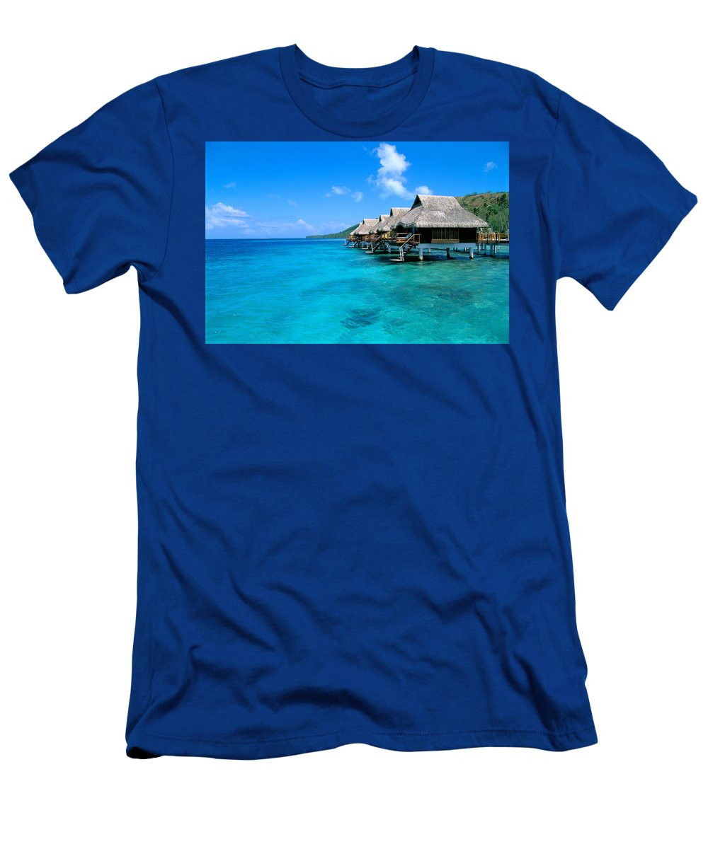 Above Men's T-Shirt (Athletic Fit) featuring the photograph Bora Bora Lagoon Resort by Greg Vaughn - Printscapes