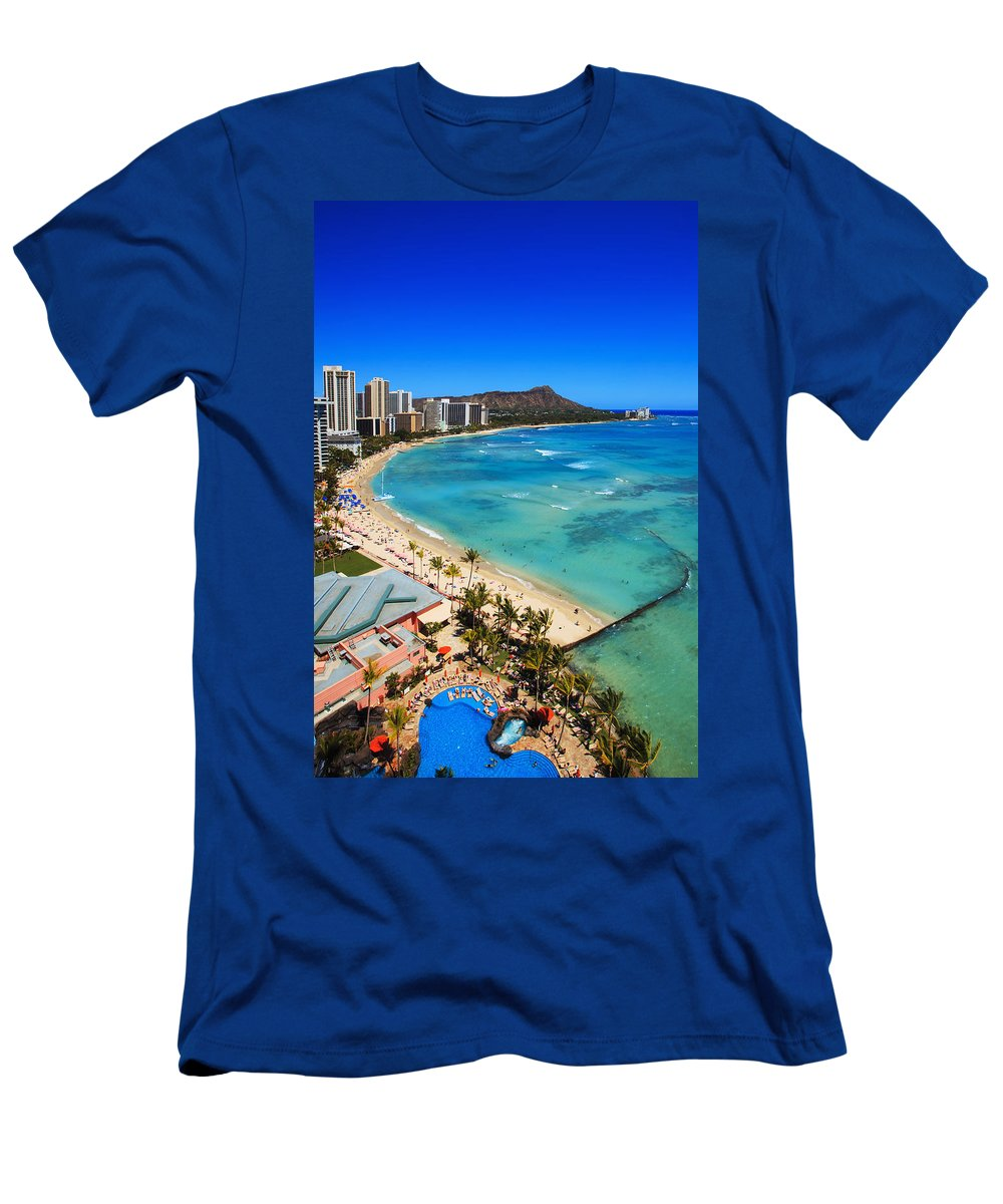 Above Men's T-Shirt (Athletic Fit) featuring the photograph Classic Waikiki by Tomas del Amo - Printscapes