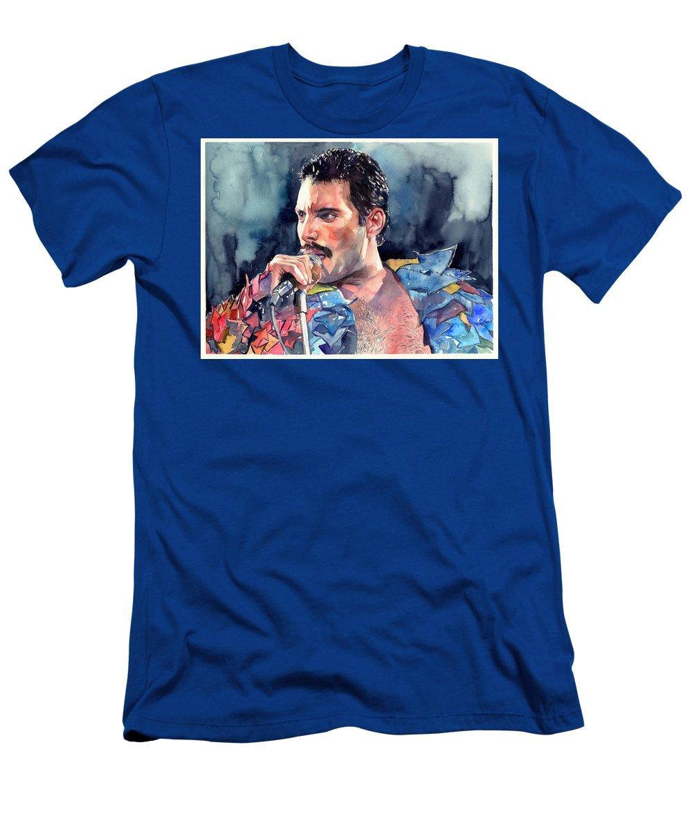 Freddie T-Shirt featuring the painting Freddie Mercury portrait by Suzann Sines