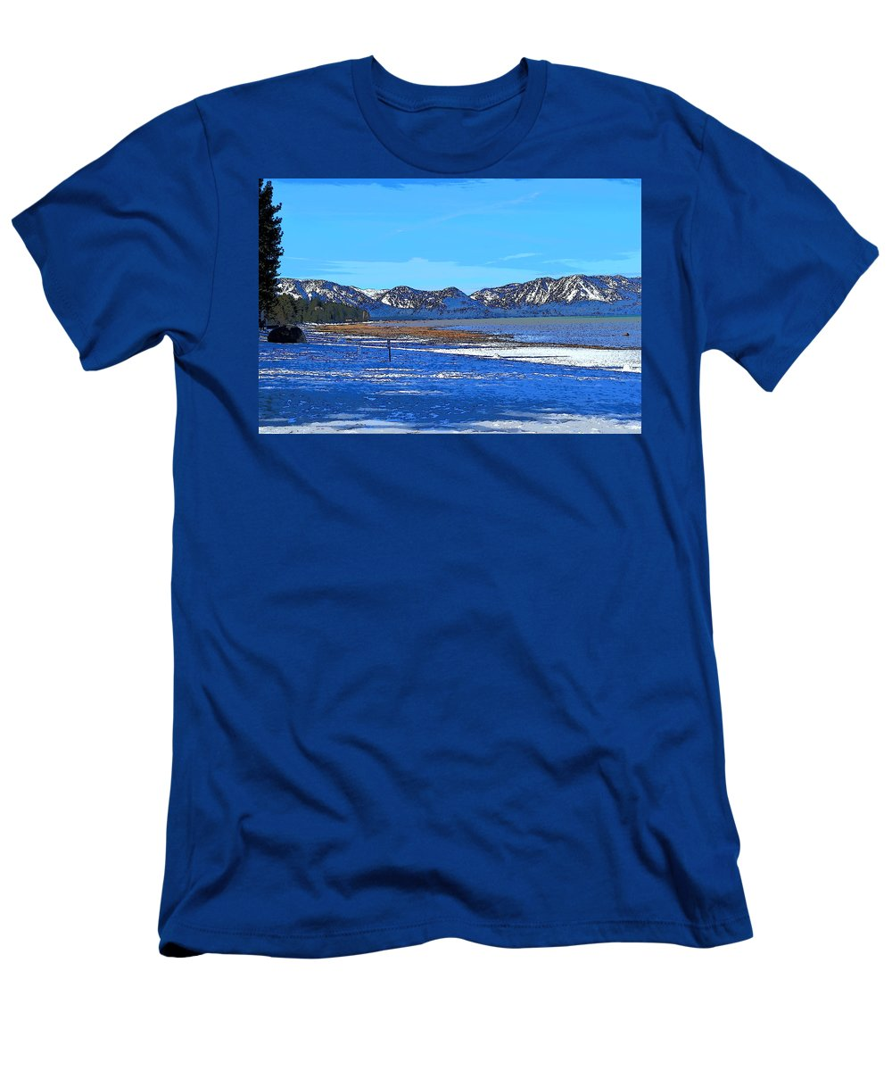 Blue Men's T-Shirt (Athletic Fit) featuring the mixed media Lake Tahoe by Christina McNee-Geiger