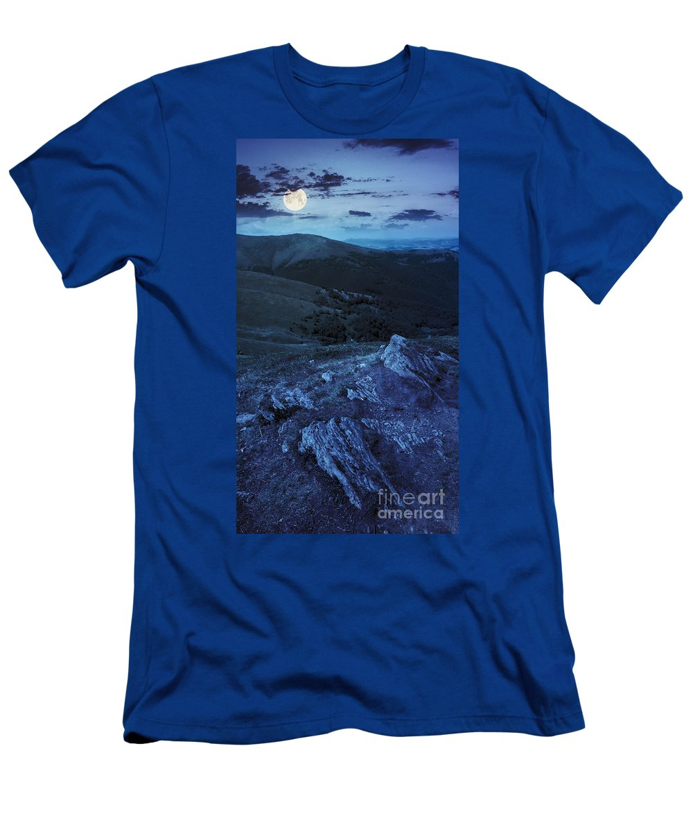 Landscape Men's T-Shirt (Athletic Fit) featuring the photograph Light On Stone Mountain Slope With Forest At Night by Michael Pelin