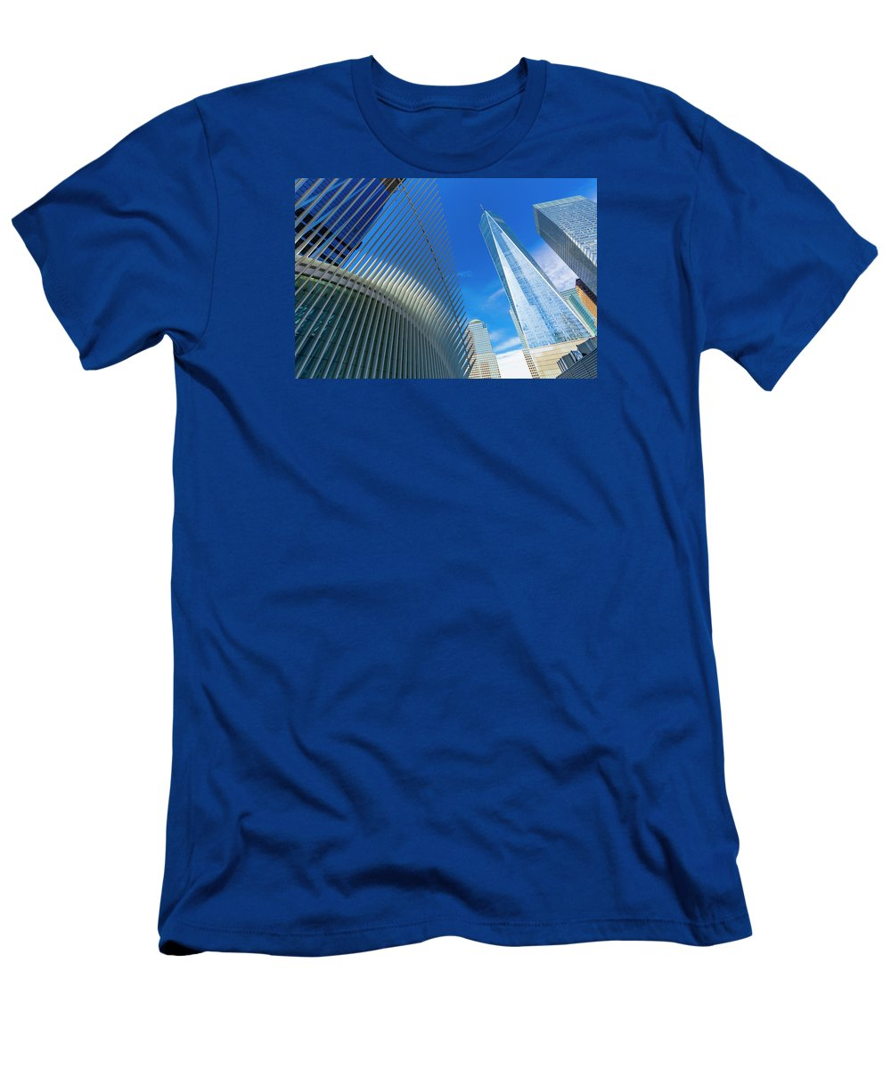 Fredom Tower Men's T-Shirt (Athletic Fit) featuring the photograph National September 11 Memorial by Anatoliy Urbanskiy