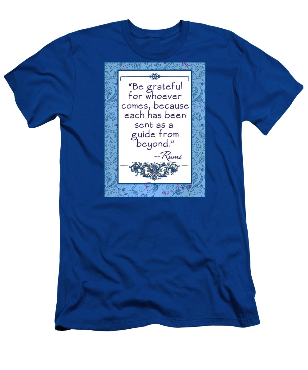 Rumi Men's T-Shirt (Athletic Fit) featuring the digital art Rumi Quote Be Grateful by Scarebaby Design