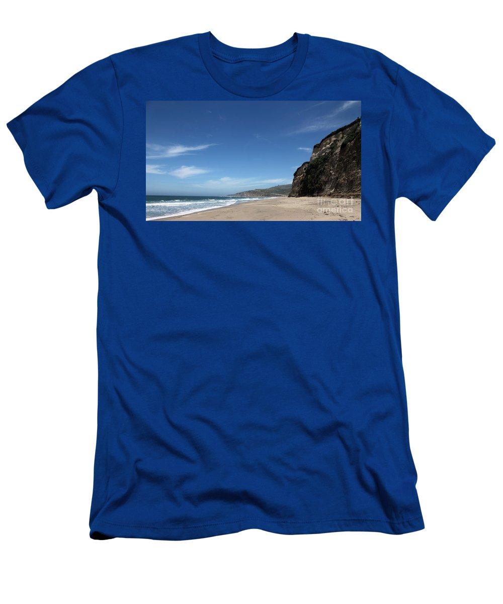 scott Creek Beach Men's T-Shirt (Athletic Fit) featuring the photograph Scott Creek Beach California Usa by Amanda Barcon