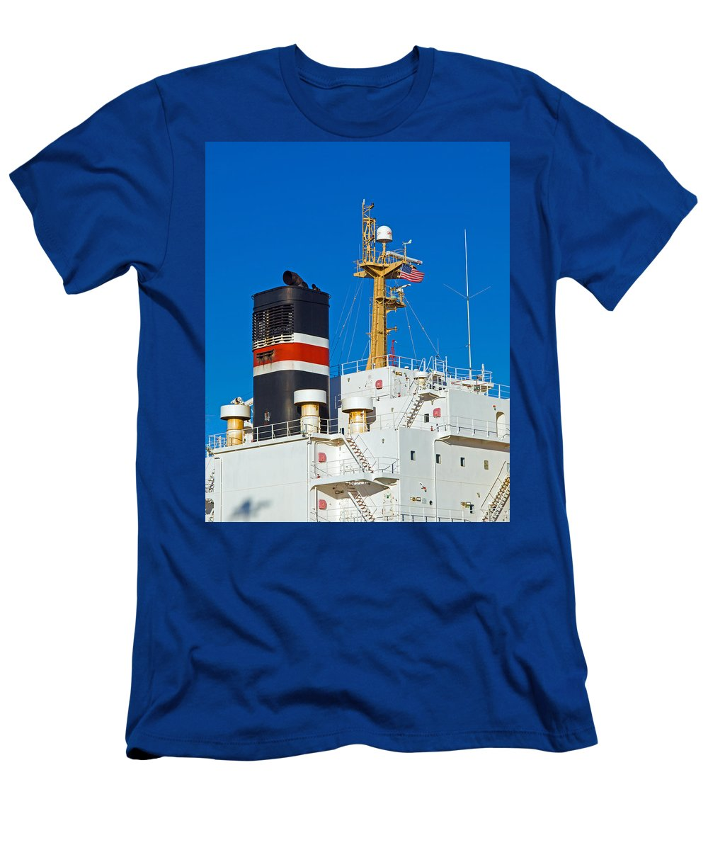 Cape; Canaveral; Port; Florida; Atlantic; Ship; Boat; Freight; Freighter; Bulk; Coal; Unloading; Loa Men's T-Shirt (Athletic Fit) featuring the photograph Tramp Steamer Unloading Coal At Port Canaveral In Florida by Allan Hughes