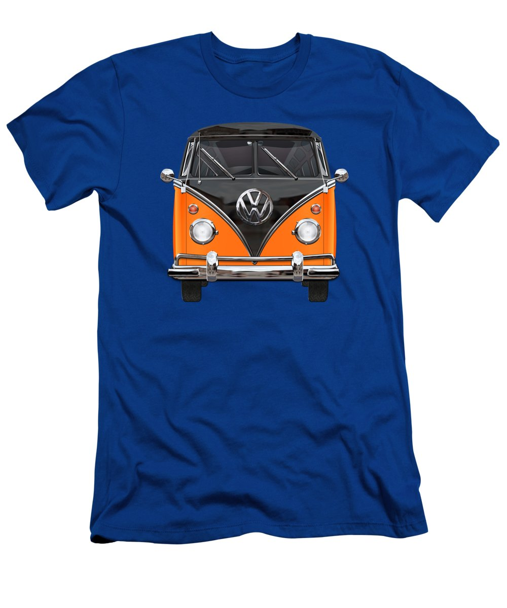 'volkswagen Type 2' Collection By Serge Averbukh T-Shirt featuring the photograph Volkswagen Type 2 - Black and Orange Volkswagen T 1 Samba Bus over Blue by Serge Averbukh