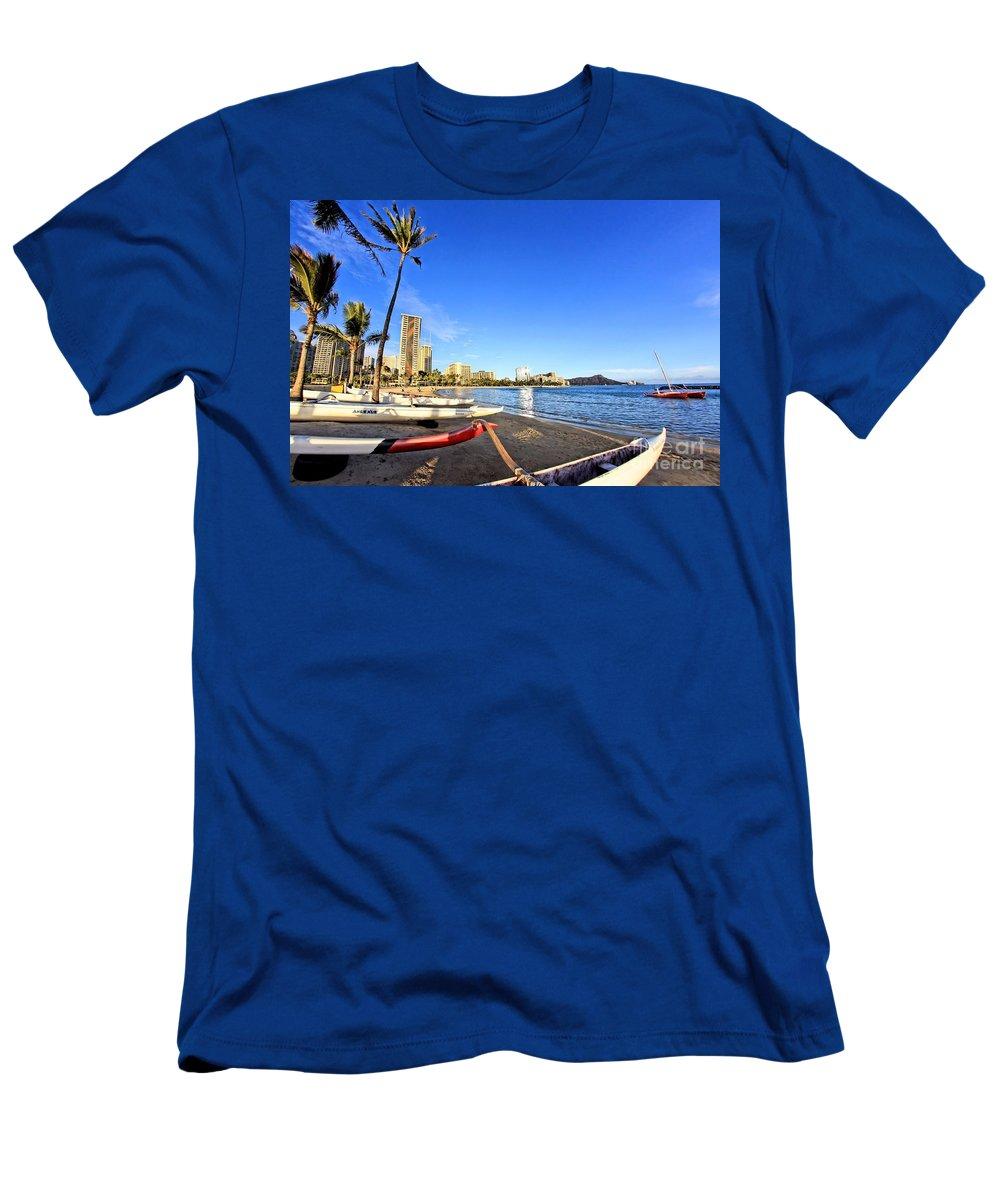 Paradise Men's T-Shirt (Athletic Fit) featuring the photograph Waikiki Hawaii by DJ Florek