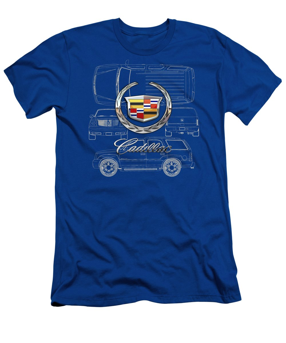 'wheels Of Fortune' By Serge Averbukh T-Shirt featuring the photograph Cadillac 3 D Badge over Cadillac Escalade Blueprint by Serge Averbukh