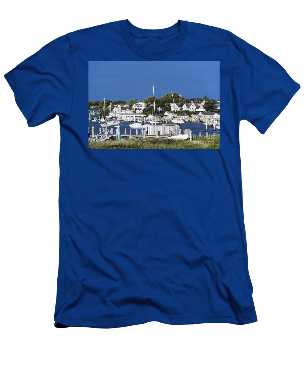 Edgartown Men's T-Shirt (Athletic Fit) featuring the photograph Edgartown Harbor by John Greim
