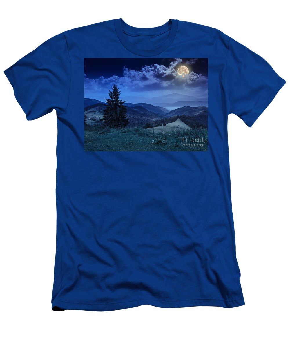 Forest Men's T-Shirt (Athletic Fit) featuring the photograph Forest On A Steep Mountain Slope by Michael Pelin