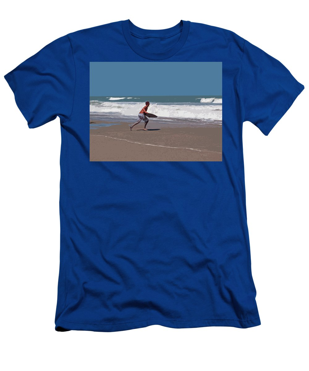 Boogie Men's T-Shirt (Athletic Fit) featuring the painting Hurricane Surf In Florida by Allan Hughes
