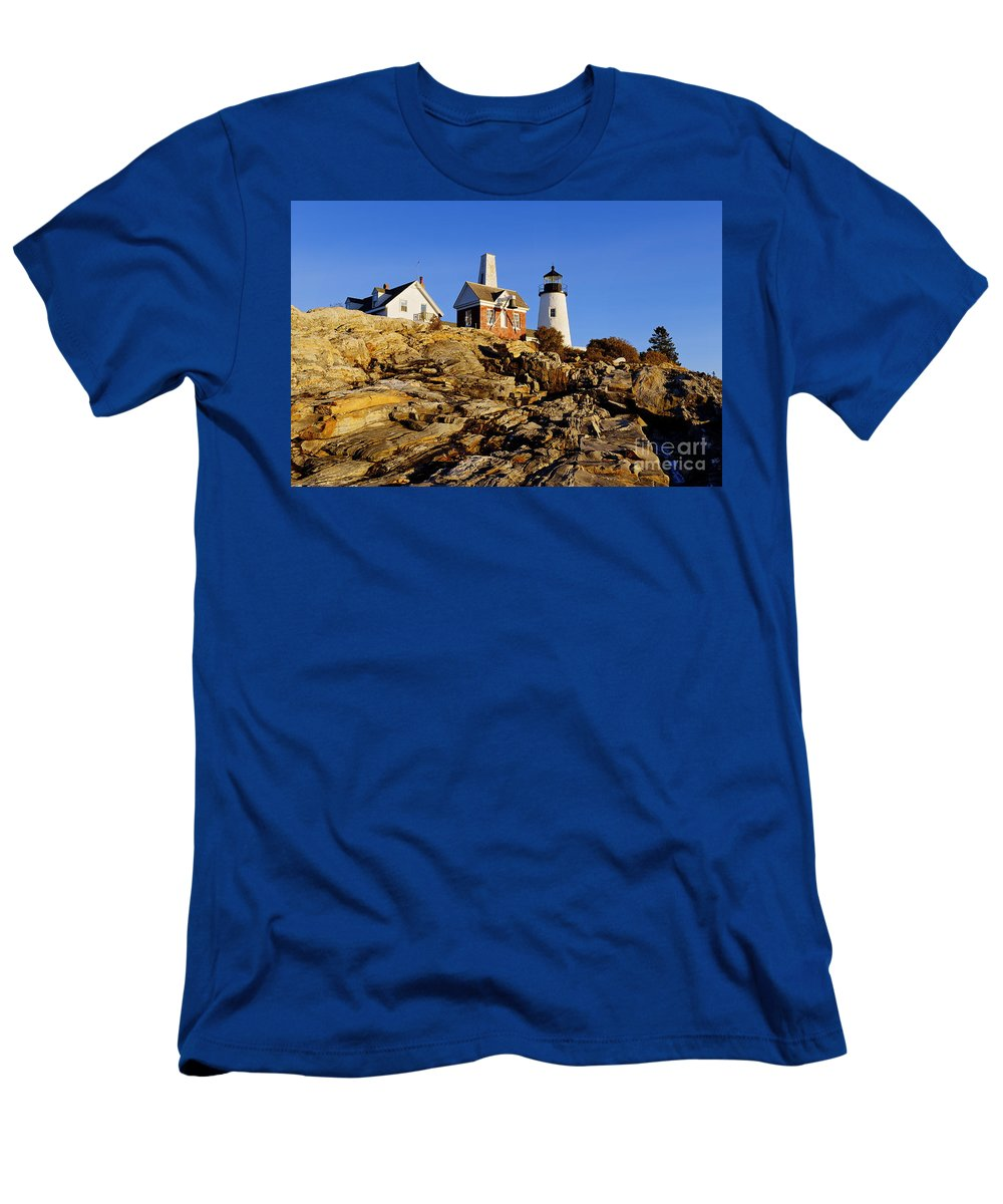 Bristol Men's T-Shirt (Athletic Fit) featuring the photograph Pemaquid Point Light by John Greim