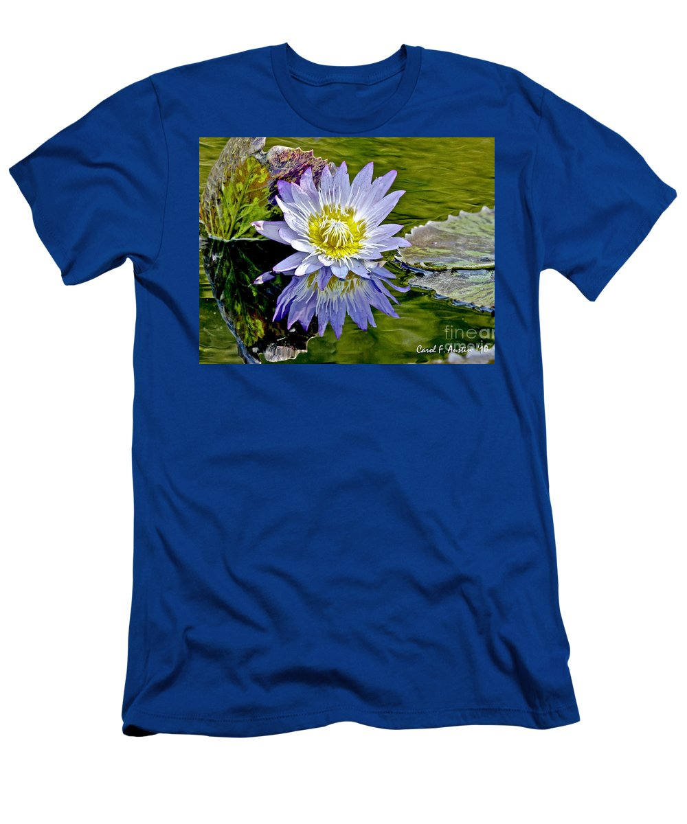 Impressionistic Men's T-Shirt (Athletic Fit) featuring the photograph Purple Water Lily Pond Flower Wall Decor by Carol F Austin