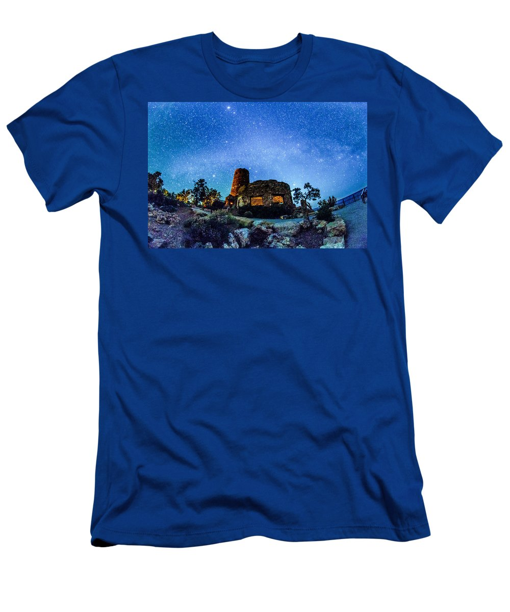 Canyon Men's T-Shirt (Athletic Fit) featuring the photograph Watchtower Over The Grand Canyon  Arizona by Alex Grichenko