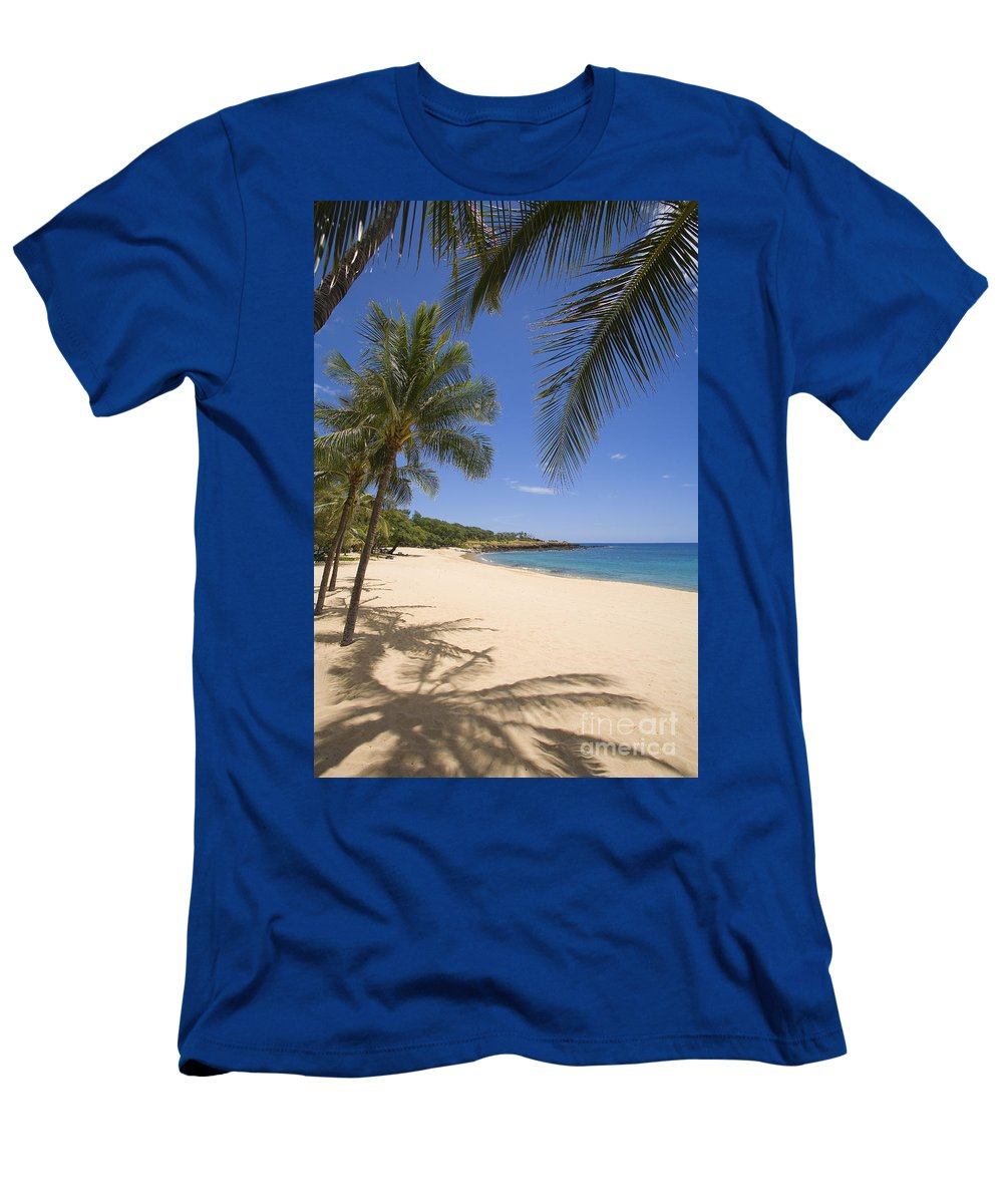 Afternoon Men's T-Shirt (Athletic Fit) featuring the photograph Hulopoe Beach, Palm Tree by Ron Dahlquist - Printscapes