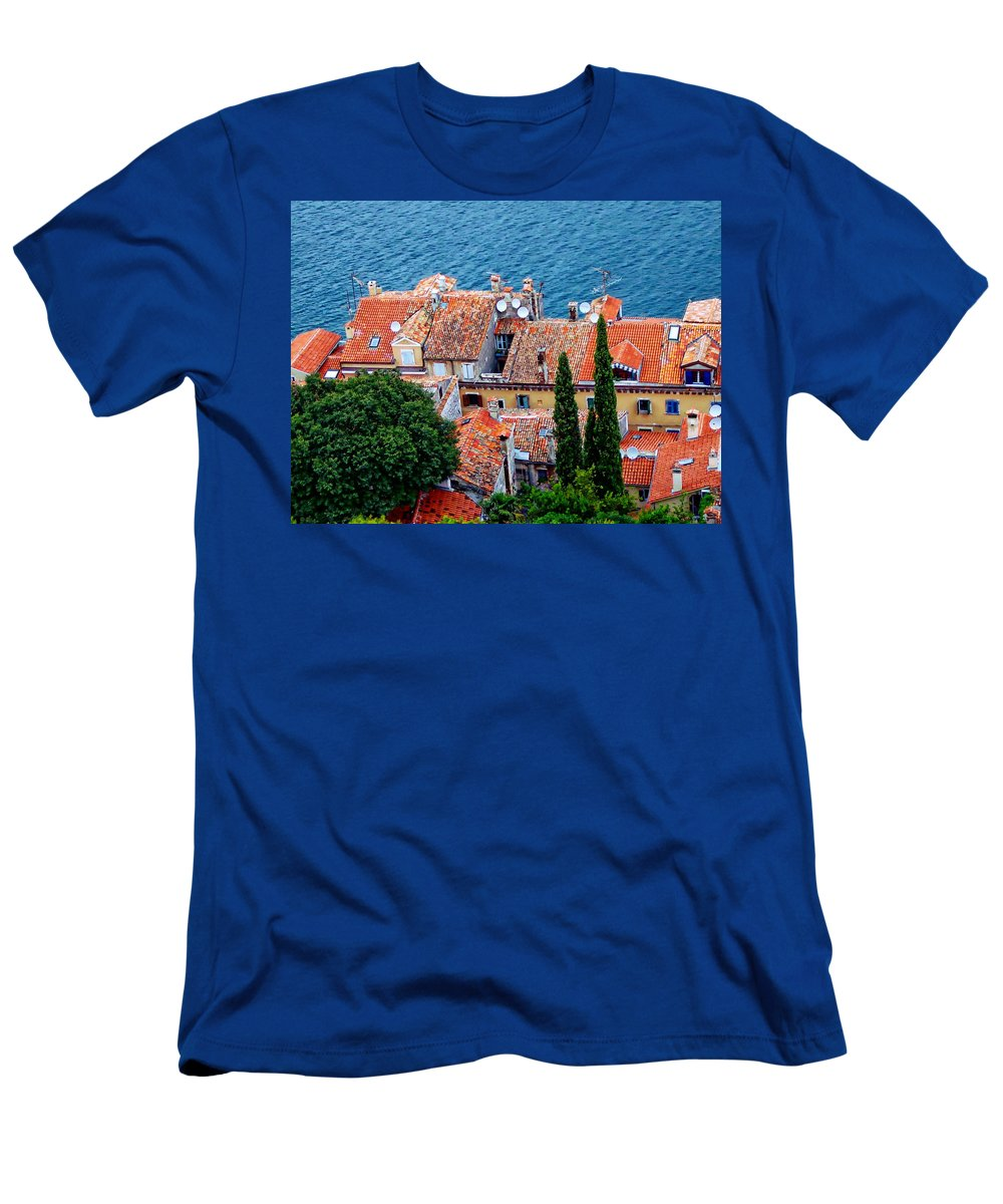 Red Men's T-Shirt (Athletic Fit) featuring the photograph Rovinj - Croatia by Anthony Dezenzio