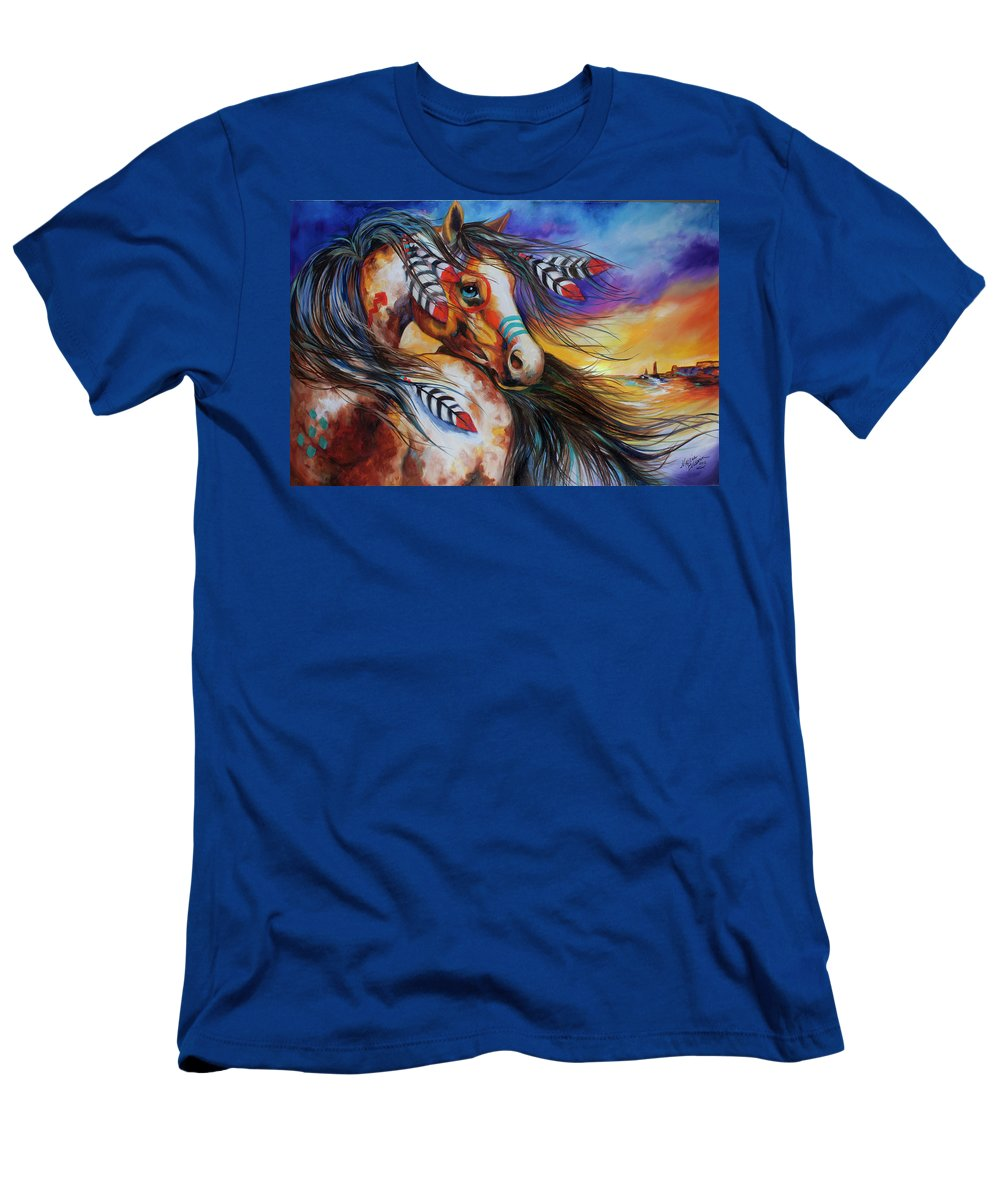 Indian T-Shirt featuring the painting 5 Feathers Indian War Horse by Marcia Baldwin