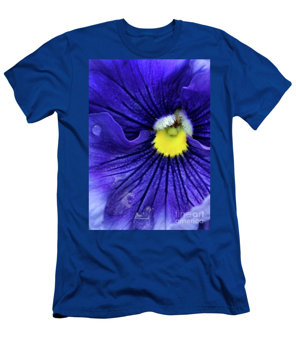 Pansy Men's T-Shirt (Athletic Fit) featuring the photograph A Blue Pansy by Sabrina L Ryan