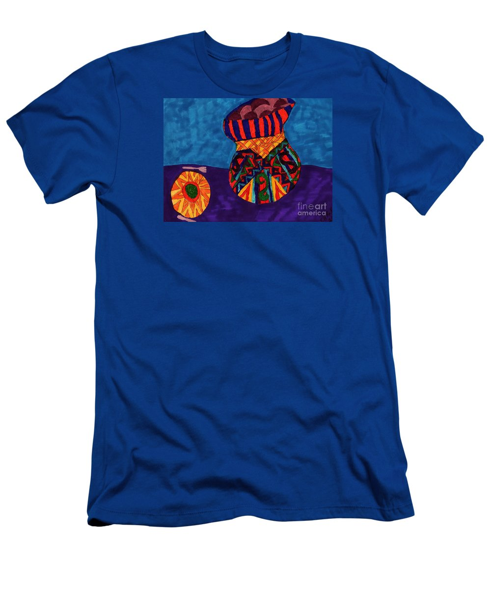 Colorful Bowl Of Beans Men's T-Shirt (Athletic Fit) featuring the mixed media A Bowl Of Beans by Elinor Helen Rakowski