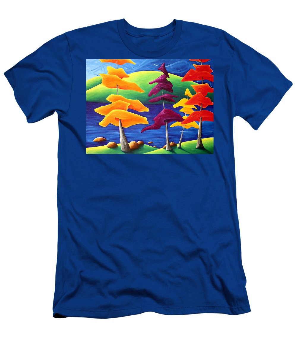 Landscape Men's T-Shirt (Athletic Fit) featuring the painting A Crowd Gathers by Richard Hoedl