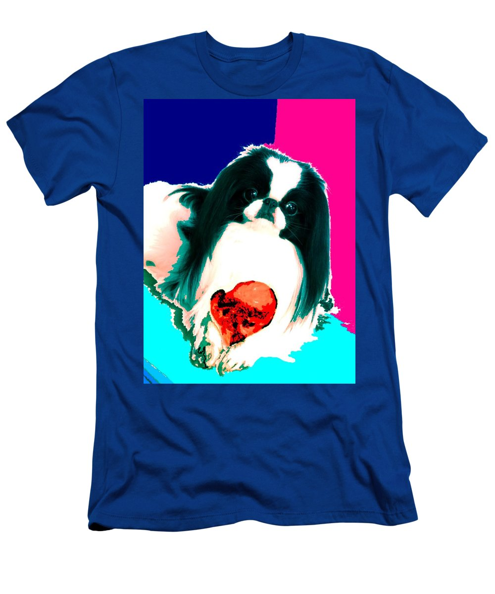 A Japanese Chin And His Toy Men's T-Shirt (Athletic Fit) featuring the digital art A Japanese Chin And His Toy by Kathleen Sepulveda